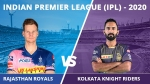 IPL 2020: ജയം തുടരാന് രാജസ്ഥാന് റോയല്സ്; കൊൽക്കത്ത ആദ്യം ബാറ്റു ചെയ്യും
