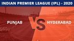 IPL 2020: പഞ്ചാബ് x ഹൈദരാബാദ്- ടോസ് വാര്ണര്ക്ക്, ബൗള് ചെയ്യും