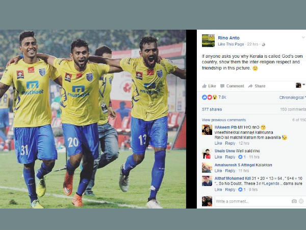 Isl Kerala Blasters Player Facebook Image And Caption Irks Many