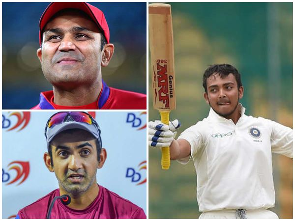 Think Twice Before Comparing Prithvi With Virender Sehawg Says Gambhir