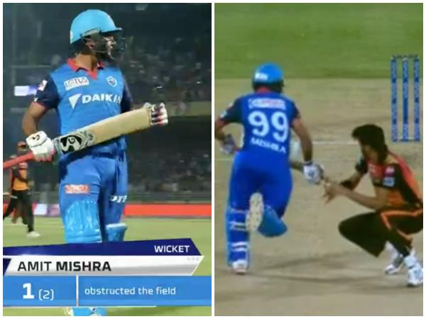 Mishra Second Person In Ipl History To Be Given Out Obstructing Field
