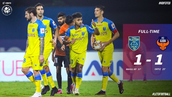 ISL 2020-21: Kerala Blasters - FC Goa Match Ends In A Draw; KP Rahul Scores For KBFC