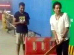 Sachin Tendulkar Plays Late Night Street Cricket With Fans