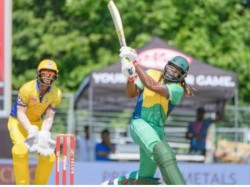 Global T20 Canada Chris Gayle Smashes 32 Runs In Shadab Khan S Over