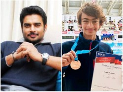 Actor Madhavans Son Vedaant Win Silver At International Swimming Championship