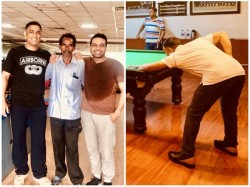 Former Captain Ms Dhoni Playing Snooker With Mla