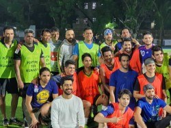 Former Indian Captain Ms Dhoni Playing Football In Mumbai